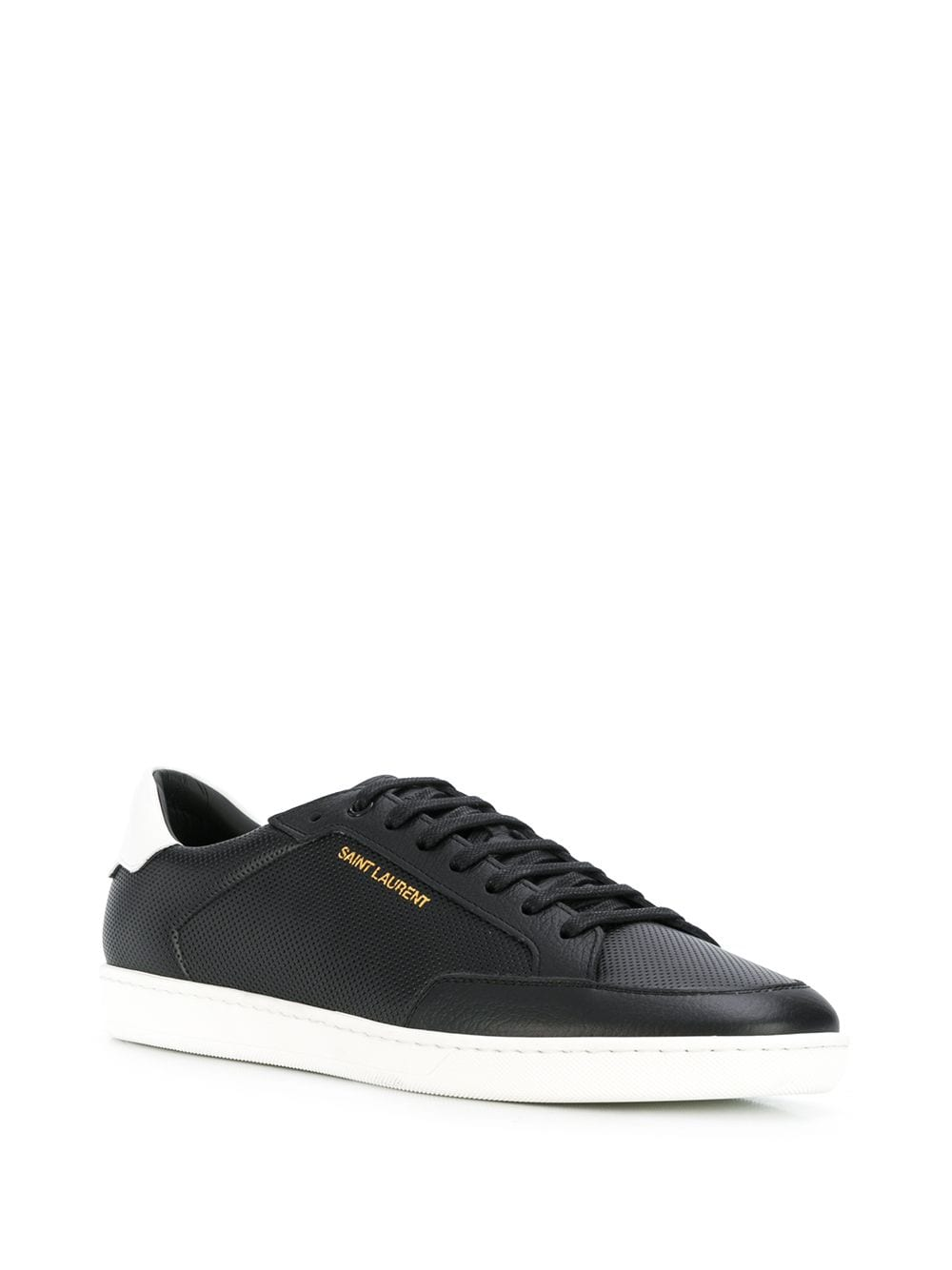 Black Leather Low Top Sneakers