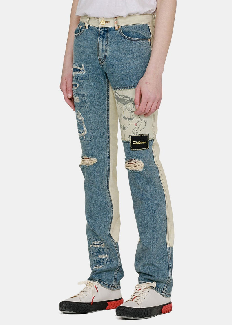 Blue & Beige Distressed Jeans