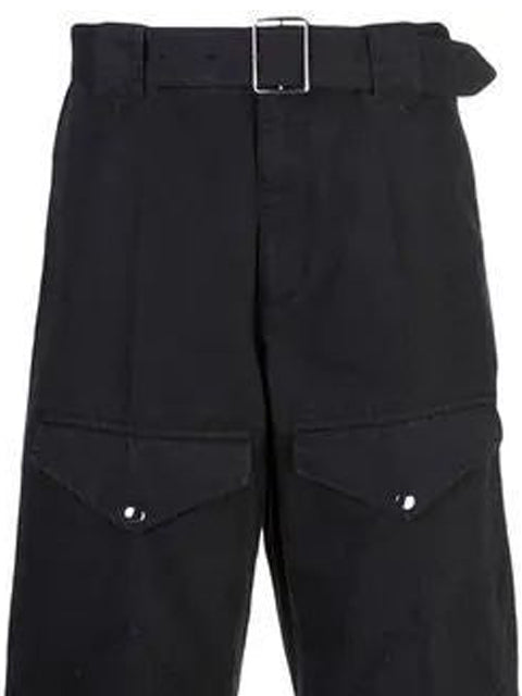 Black Belted Straight Leg Pants