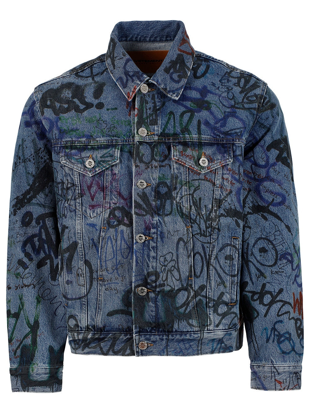 Blue Grafitti Print Denim Jacket