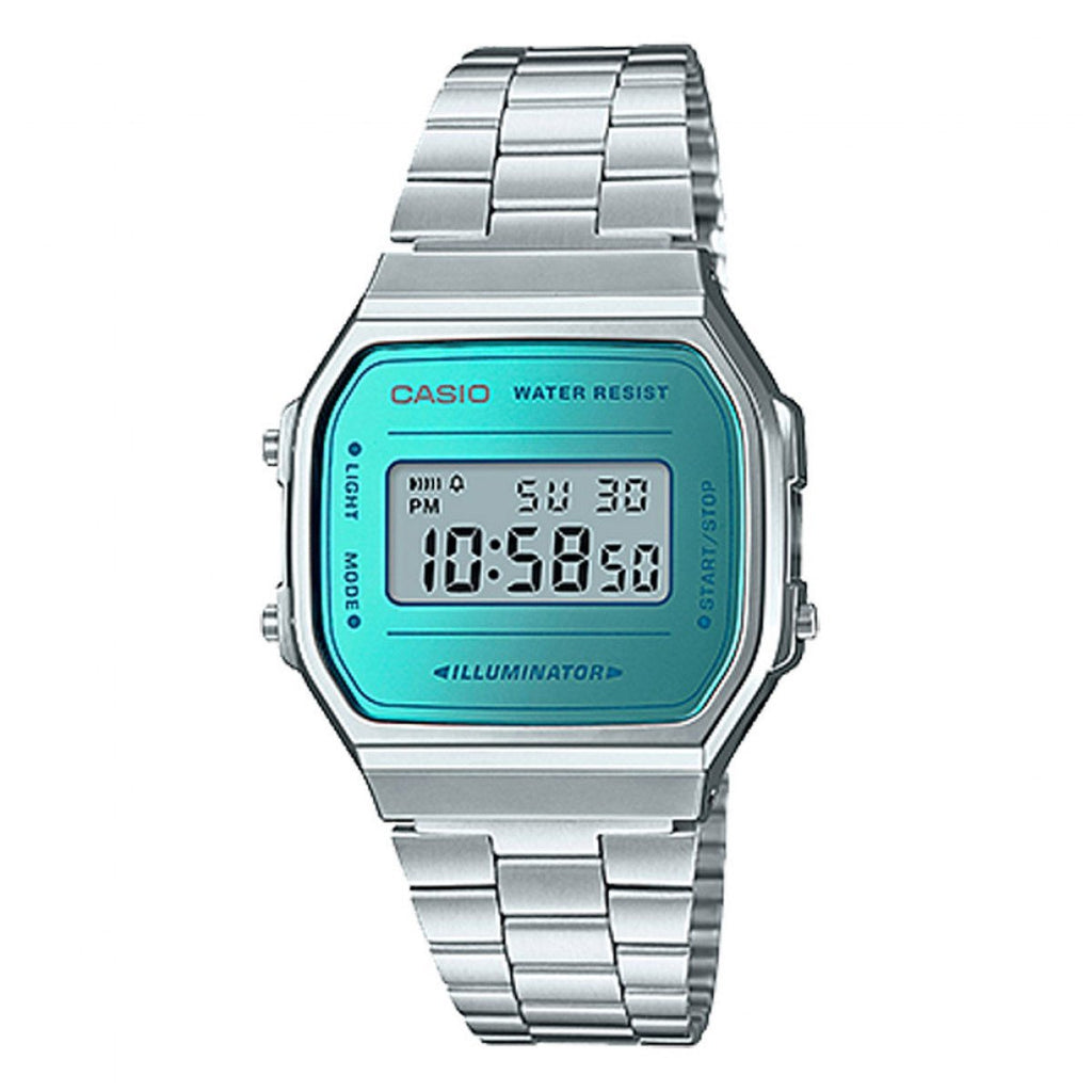Silver & Blue Vintage Digital Retro A168WEM-2VT Watch