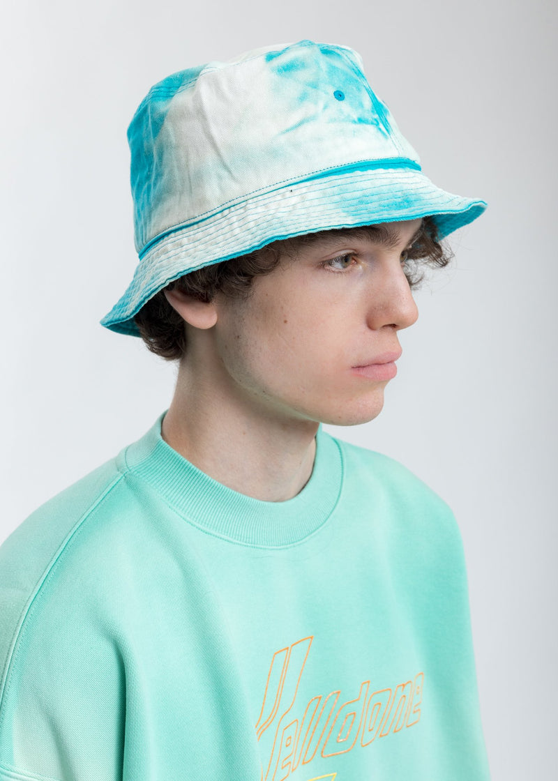 Green Hand Bleached Iridescent Logo Embossed Bucket Hat