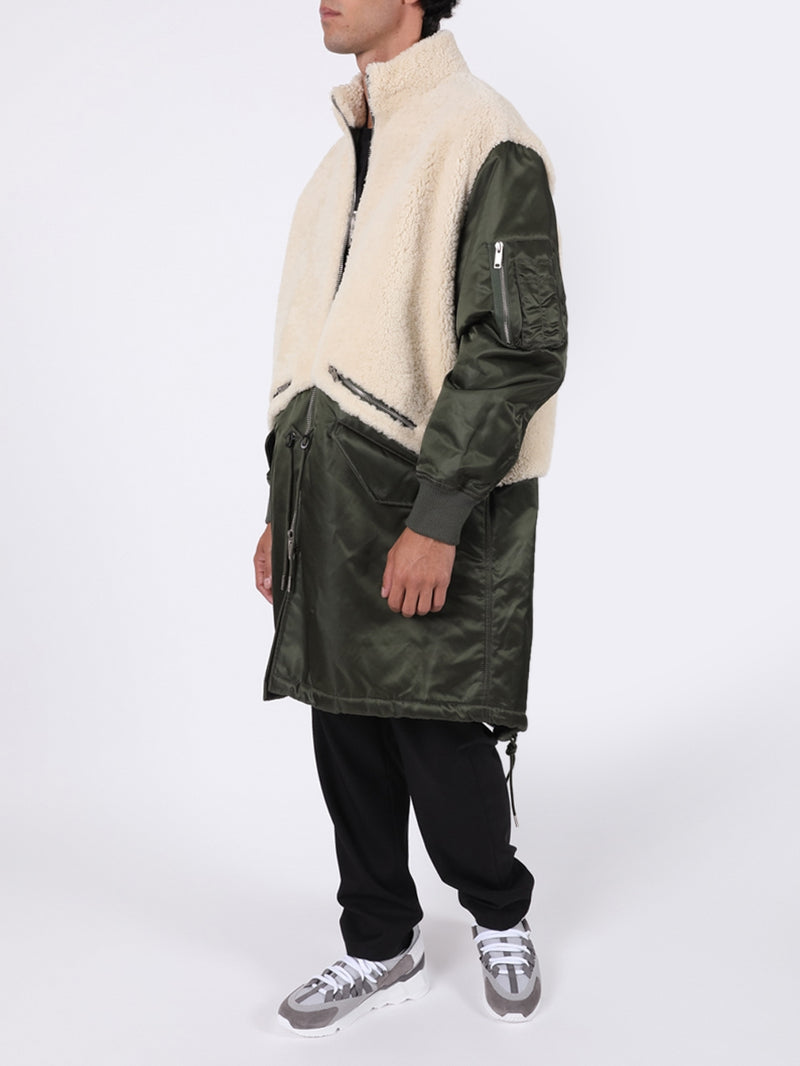 Ivory & Khaki Leather Shearling Parka Jacket