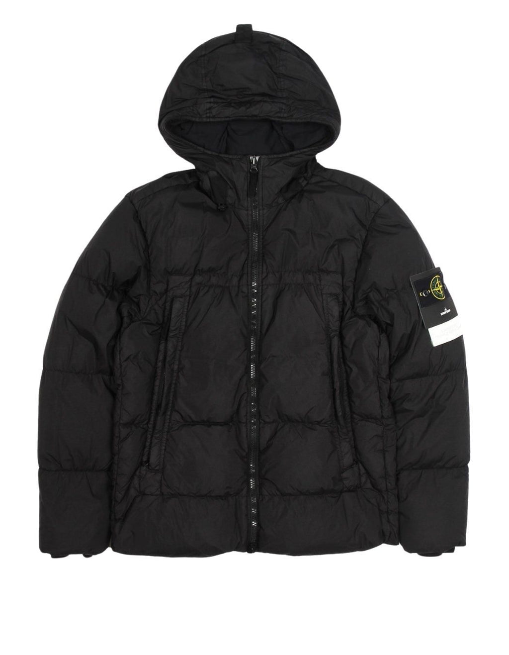 Black Garment Dyed Crinkle Reps NY Down Jacket