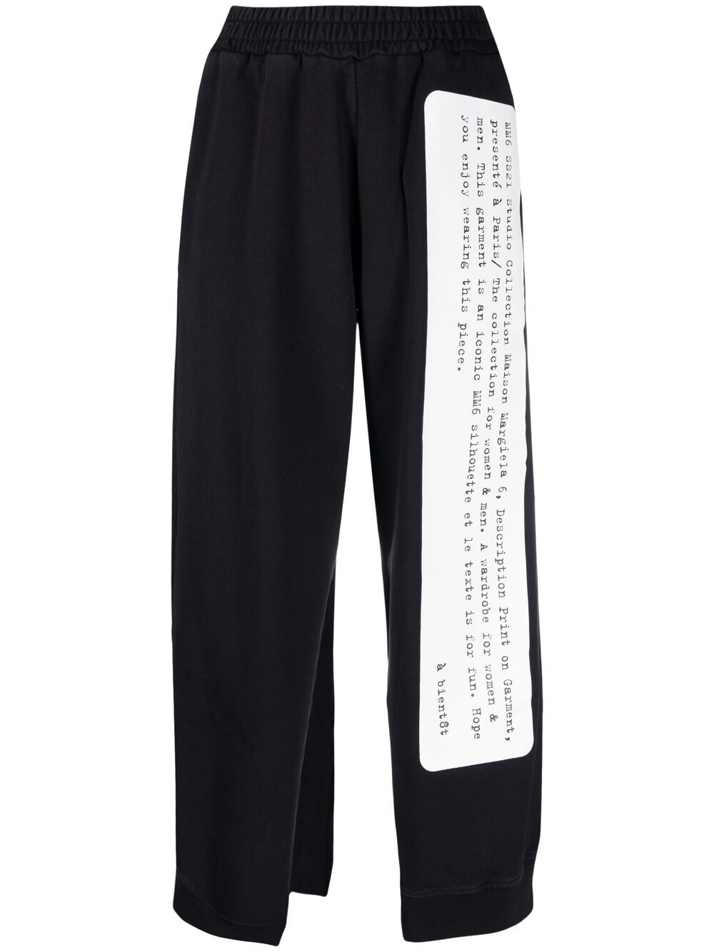 Black Printed Cut Out Raw Edge Pants