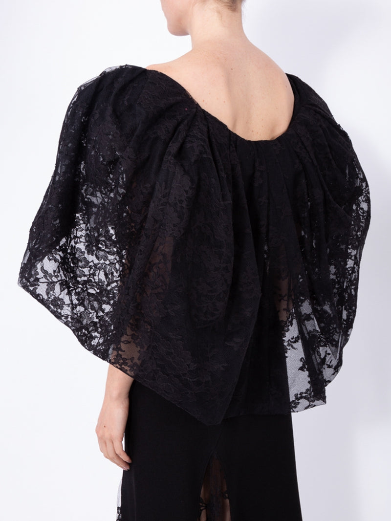Black Oversized Puff Sleeves Lace Top