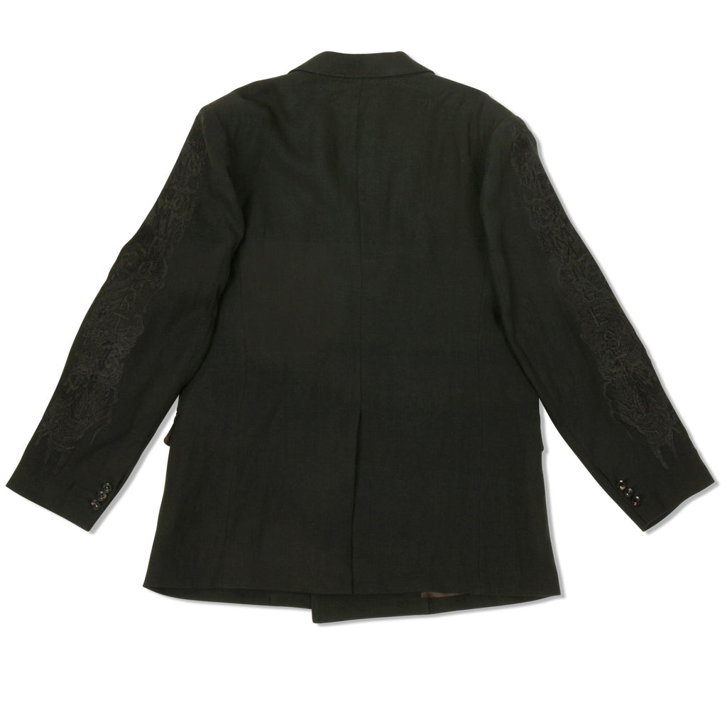 Black Chaos Embroidery Linen Tailored Jacket
