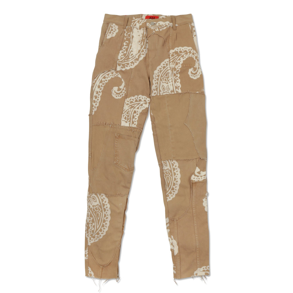 Tan Reworked Denim Work Pants