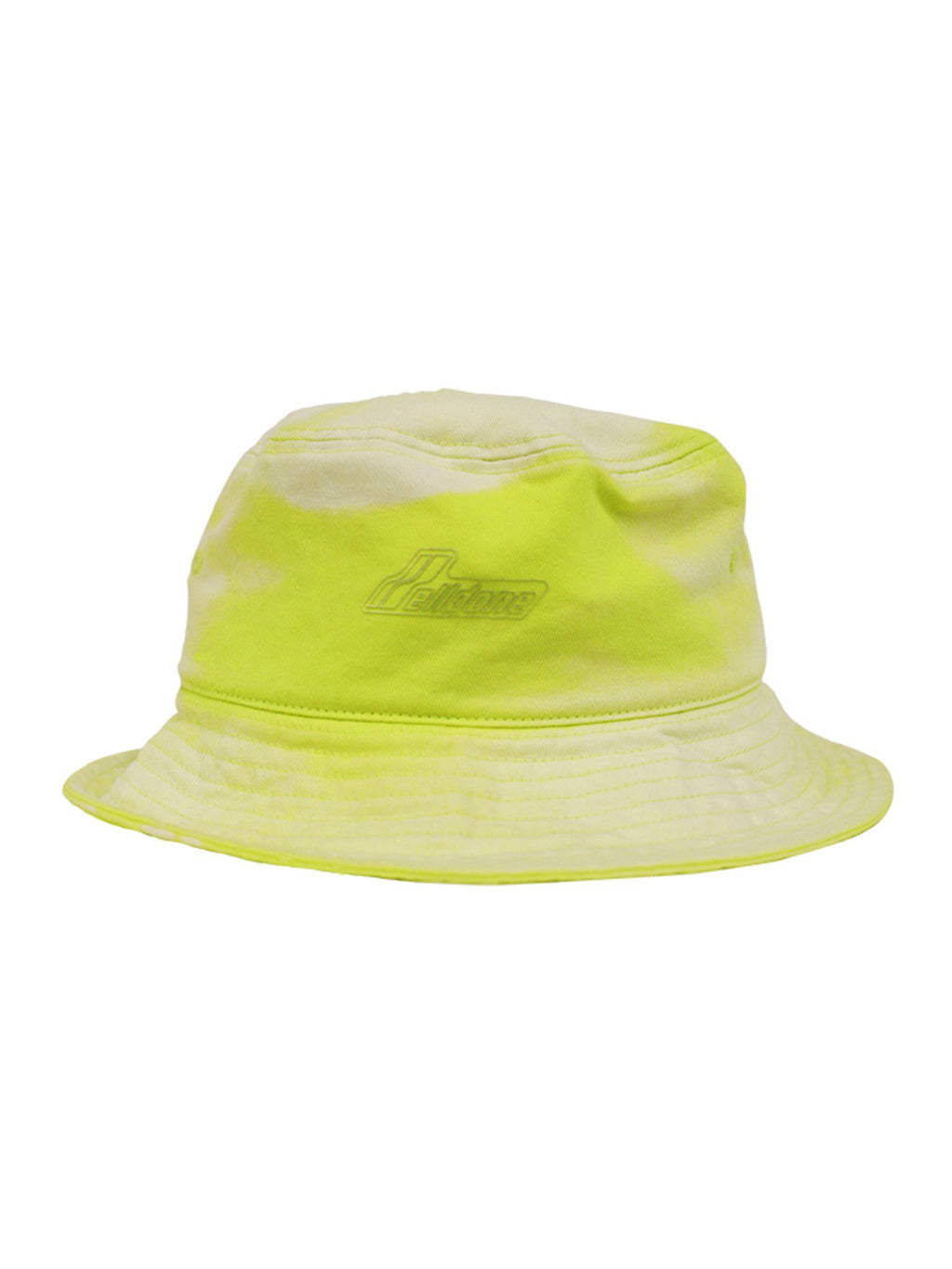 Yellow Hand Bleached Iridescent Logo Embossed Bucket Hat