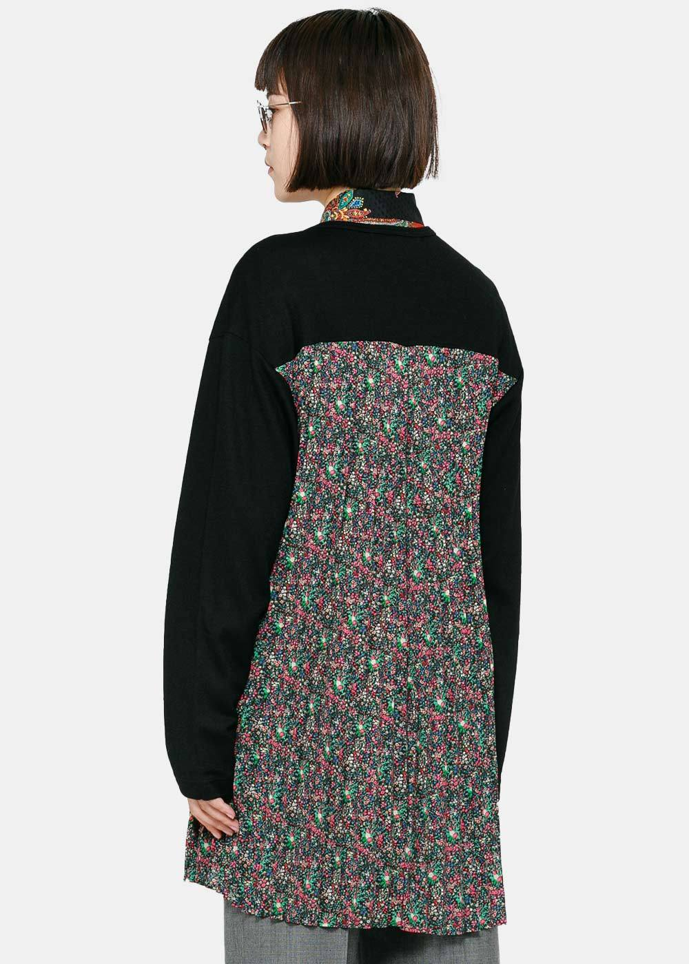Black Floral Paneled Dress