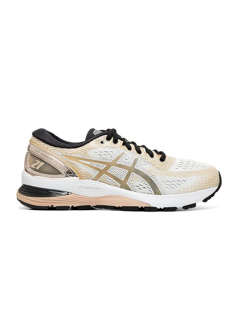 White & Beige Gel Nimbus 21 Platinum Shoes