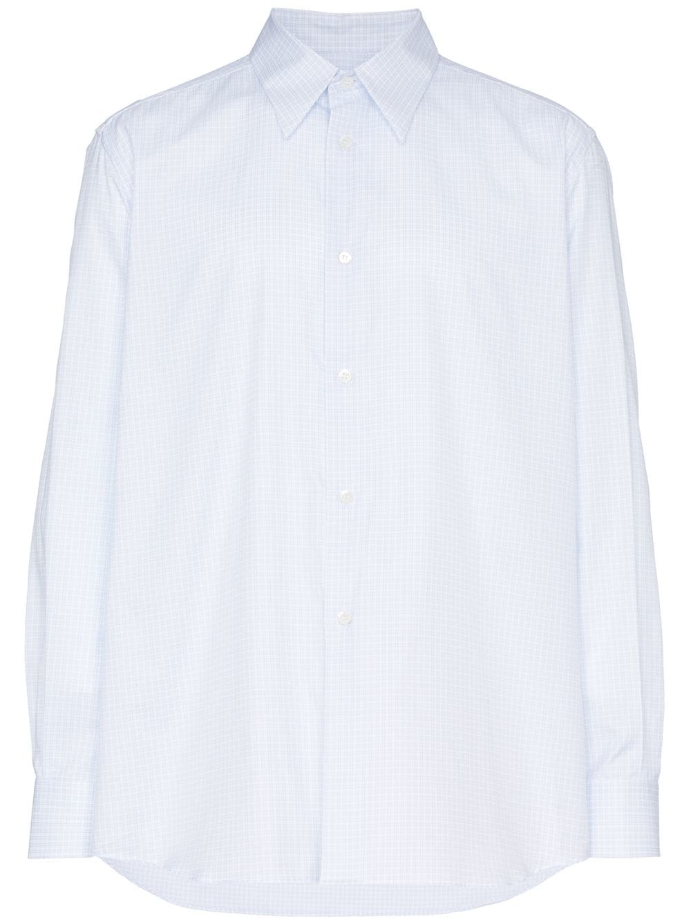 White Square Print Plastic Pocket Cotton Shirt