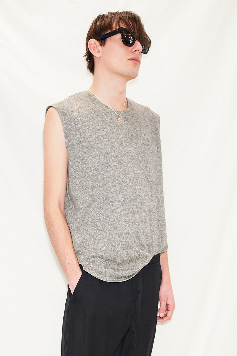 Grey Heather Terry Muscle T-Shirt