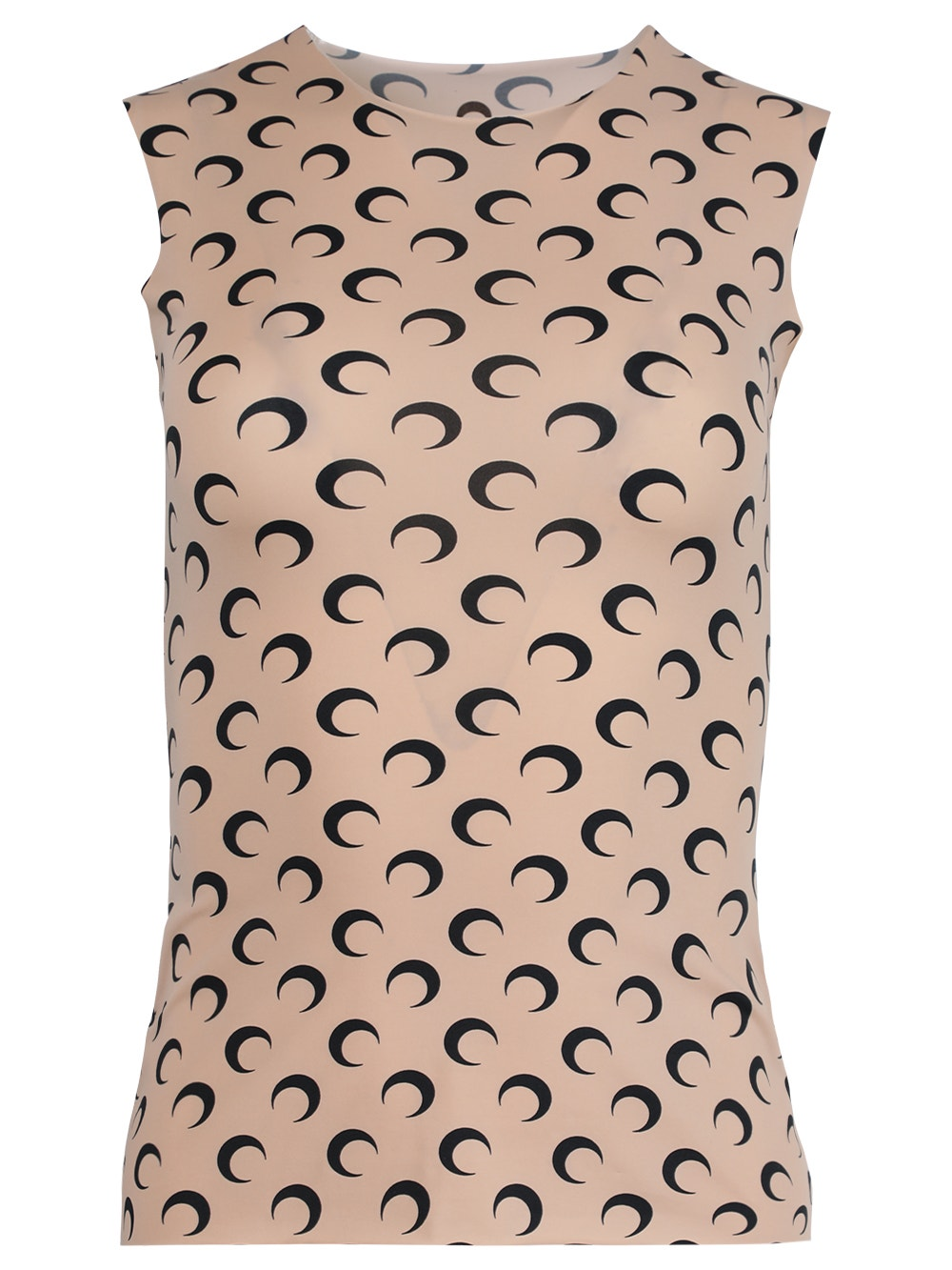 Tan & Black Sleeveless Moon Print Top