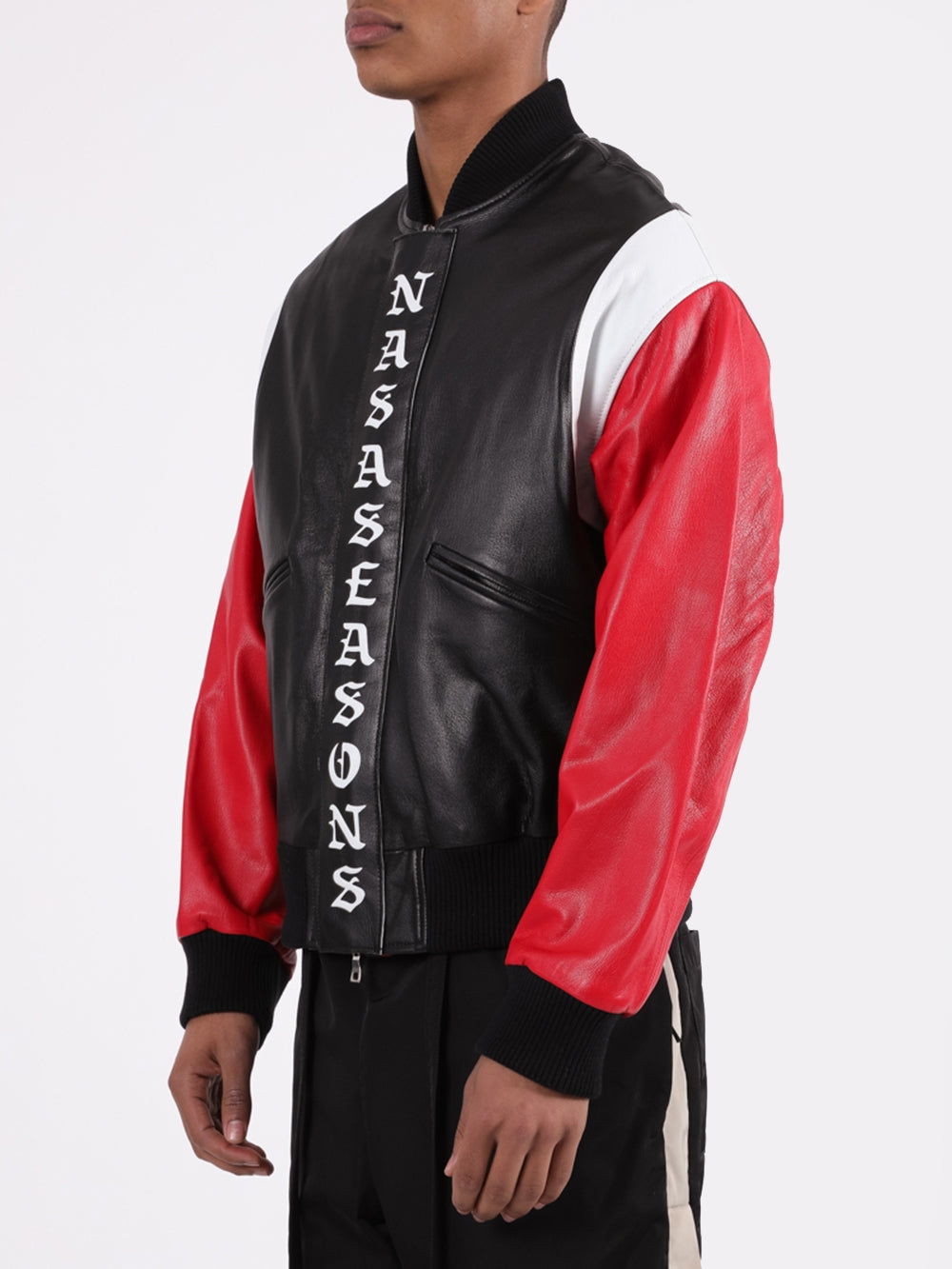 Multi Logo Leather Bomber Jacket
