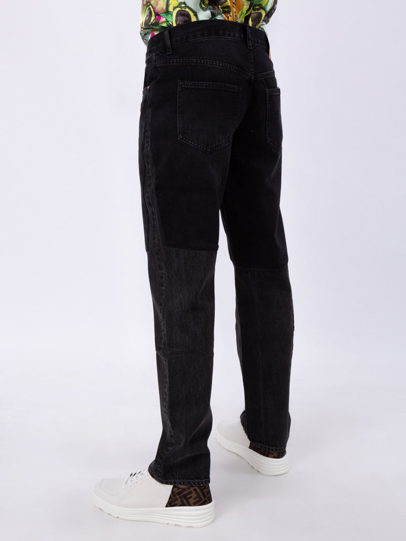 Black Two-Tone Straight Leg Jeans