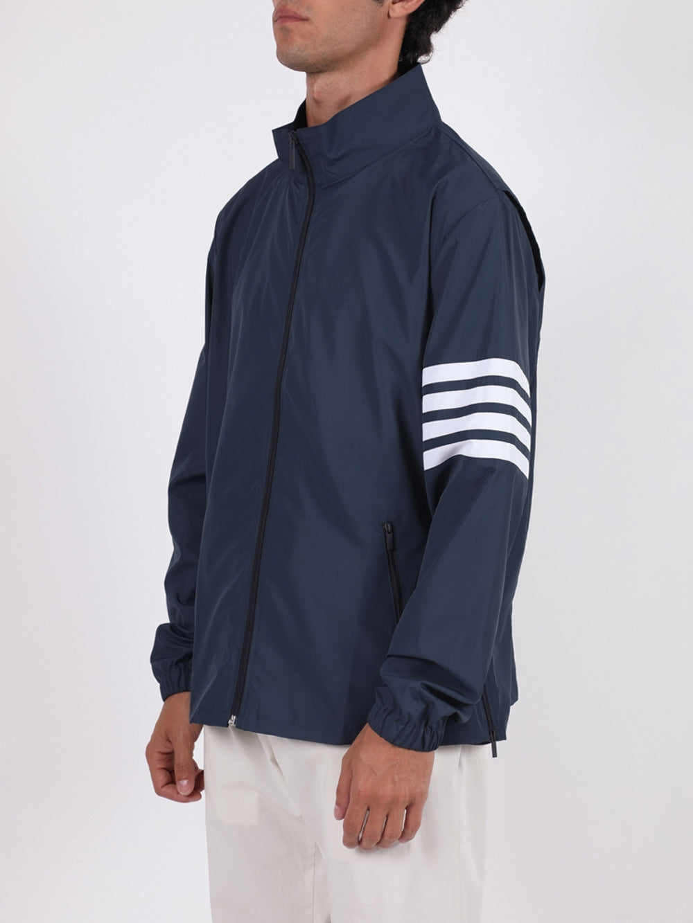 Navy 4-Bar Zip-Up Tech Jacket