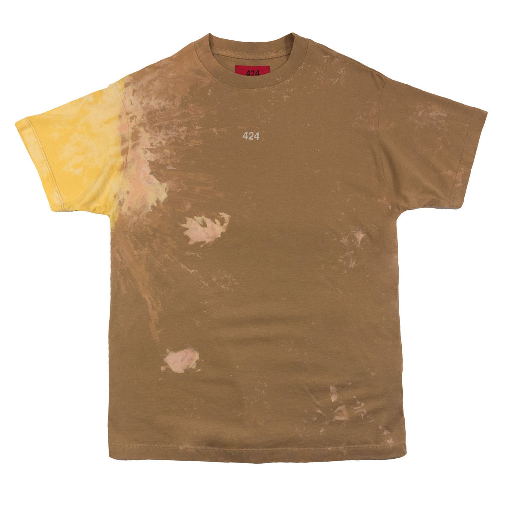 Brown Bleached Cotton T-Shirt