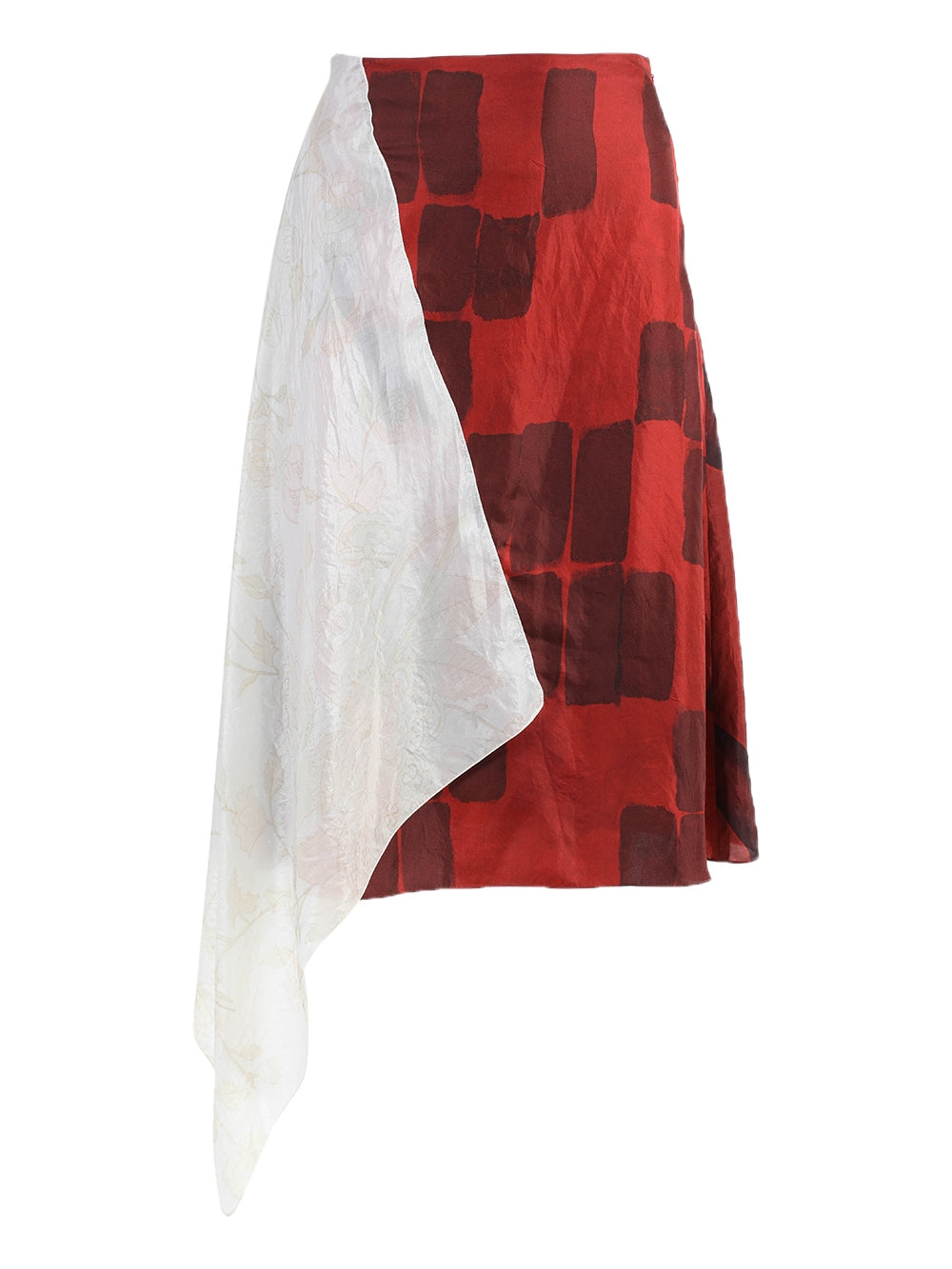 Red & Ivory Upcycled Asymmetric Skirt