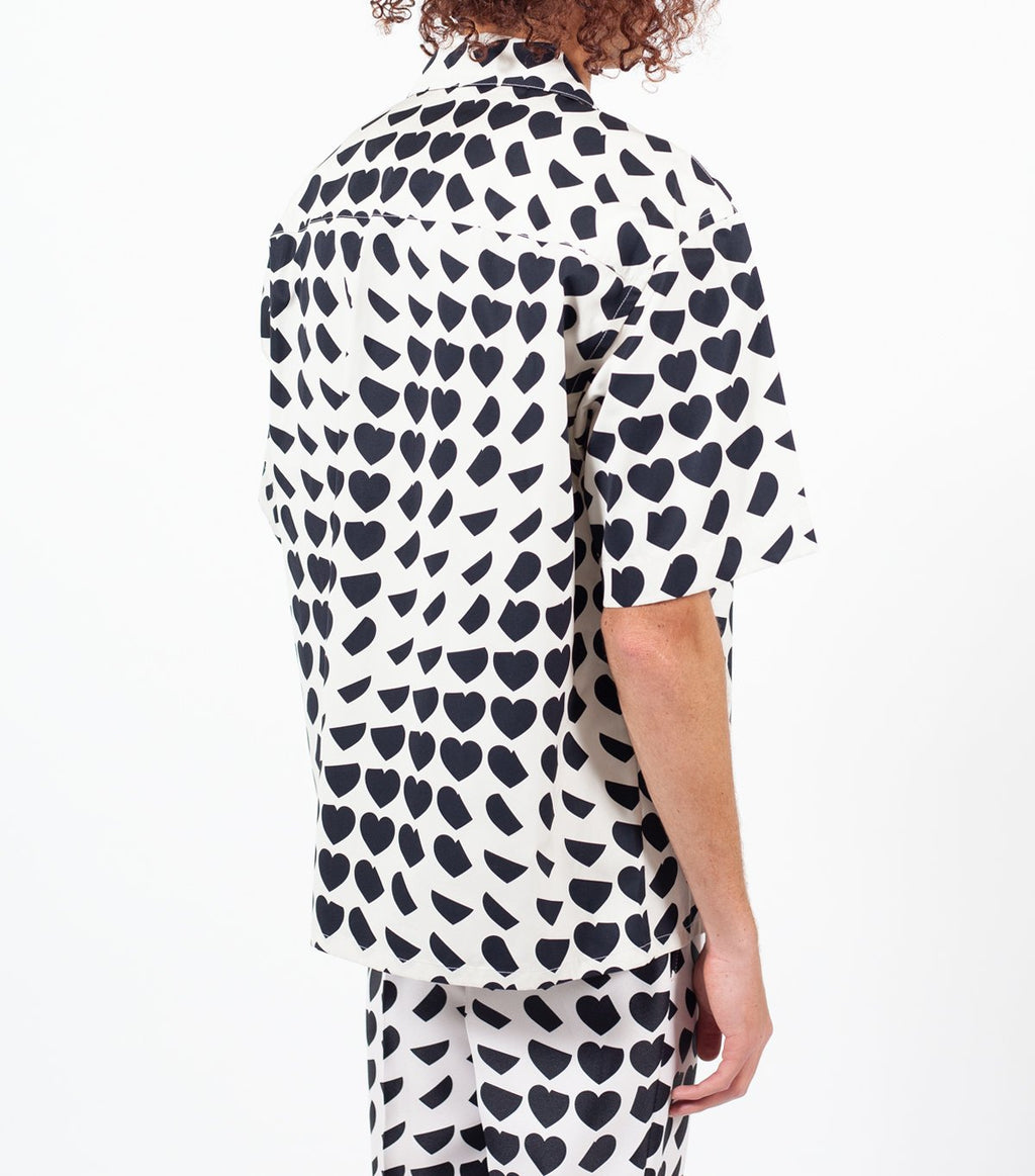 White & Black All Over Heart Print Shirt
