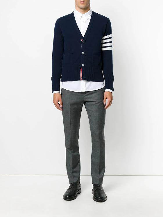 Navy 4 Bar V Neck Cardigan