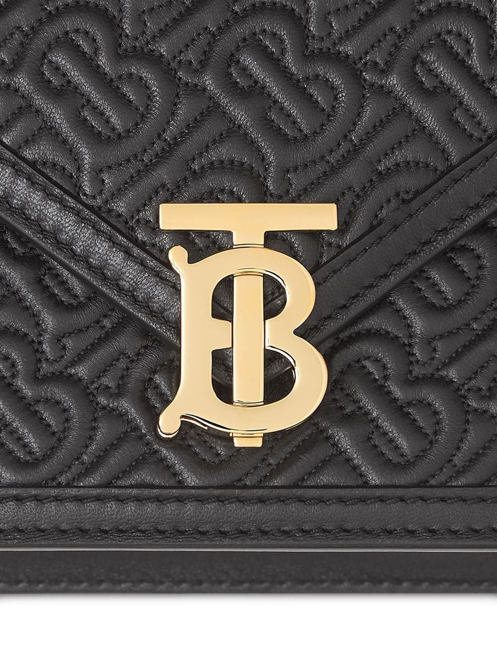 Black Small Quilted Monogram TB Envelope Clutch
