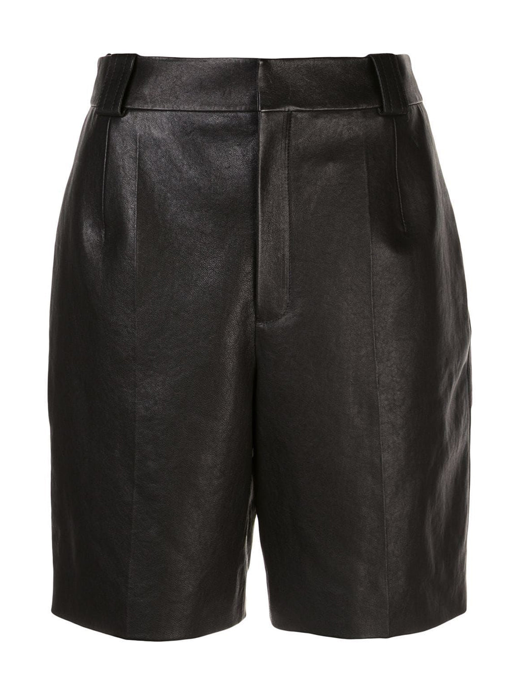 Black Pleated Detail Bermuda Leather Shorts