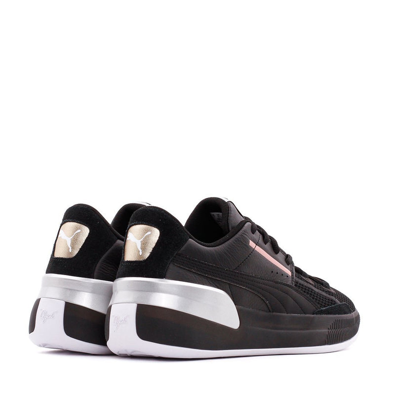 Black & Silver Clyde Hardwood Metallic Sneakers