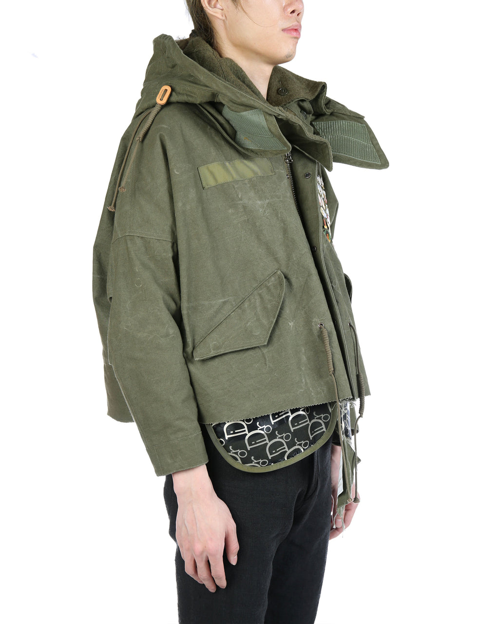 Green Vintage Army Tent Cut Fishtail Parka