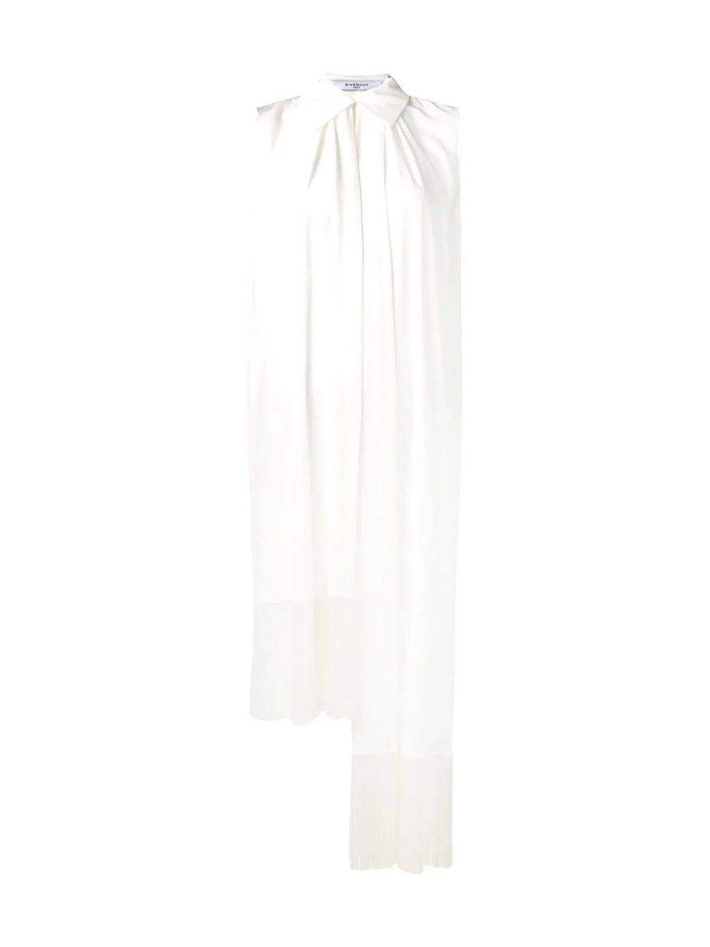 White Asymmetric Fringe Trim Blouse