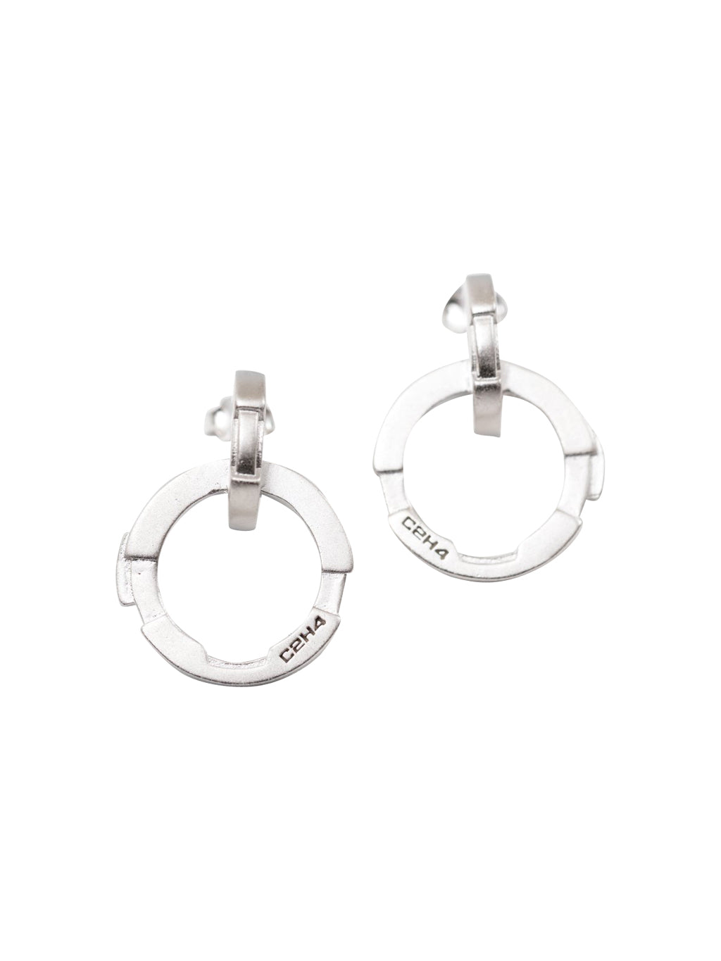 Silver Stereoscopic Combined Earrings