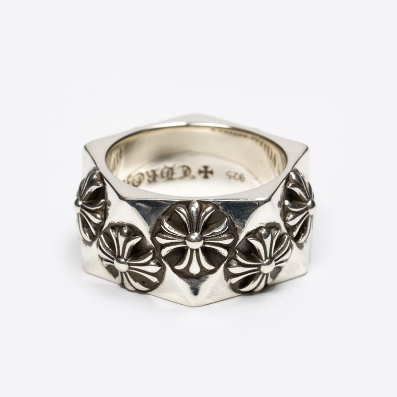 Silver Pentagon CH Plus Ring