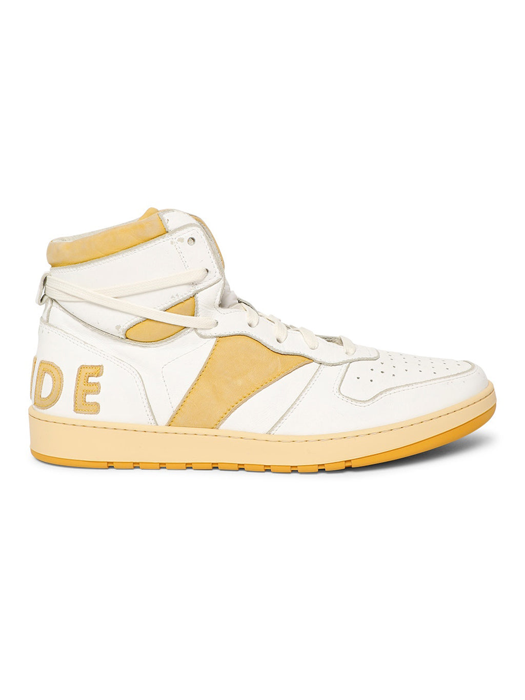 White & Yellow Rhecess High Top Sneakers