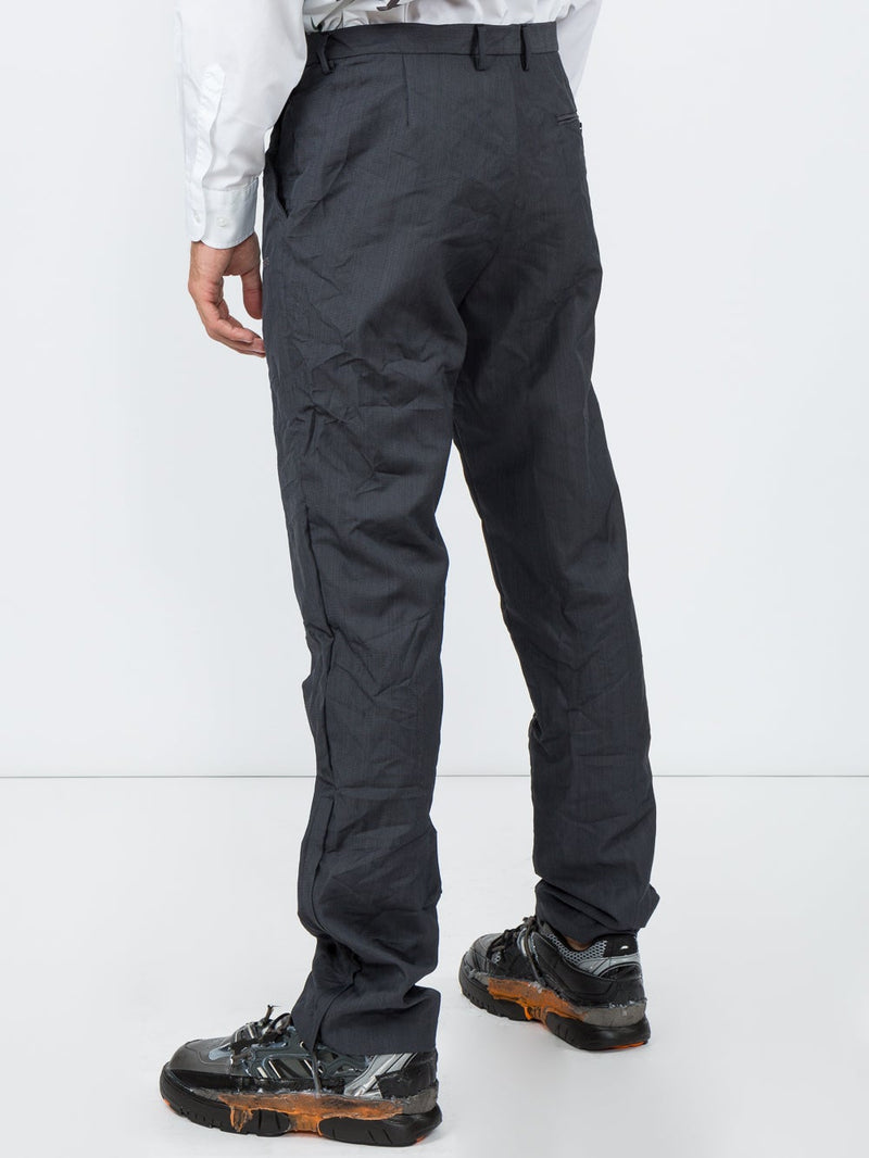 Blue Wrinkled Suit Trousers
