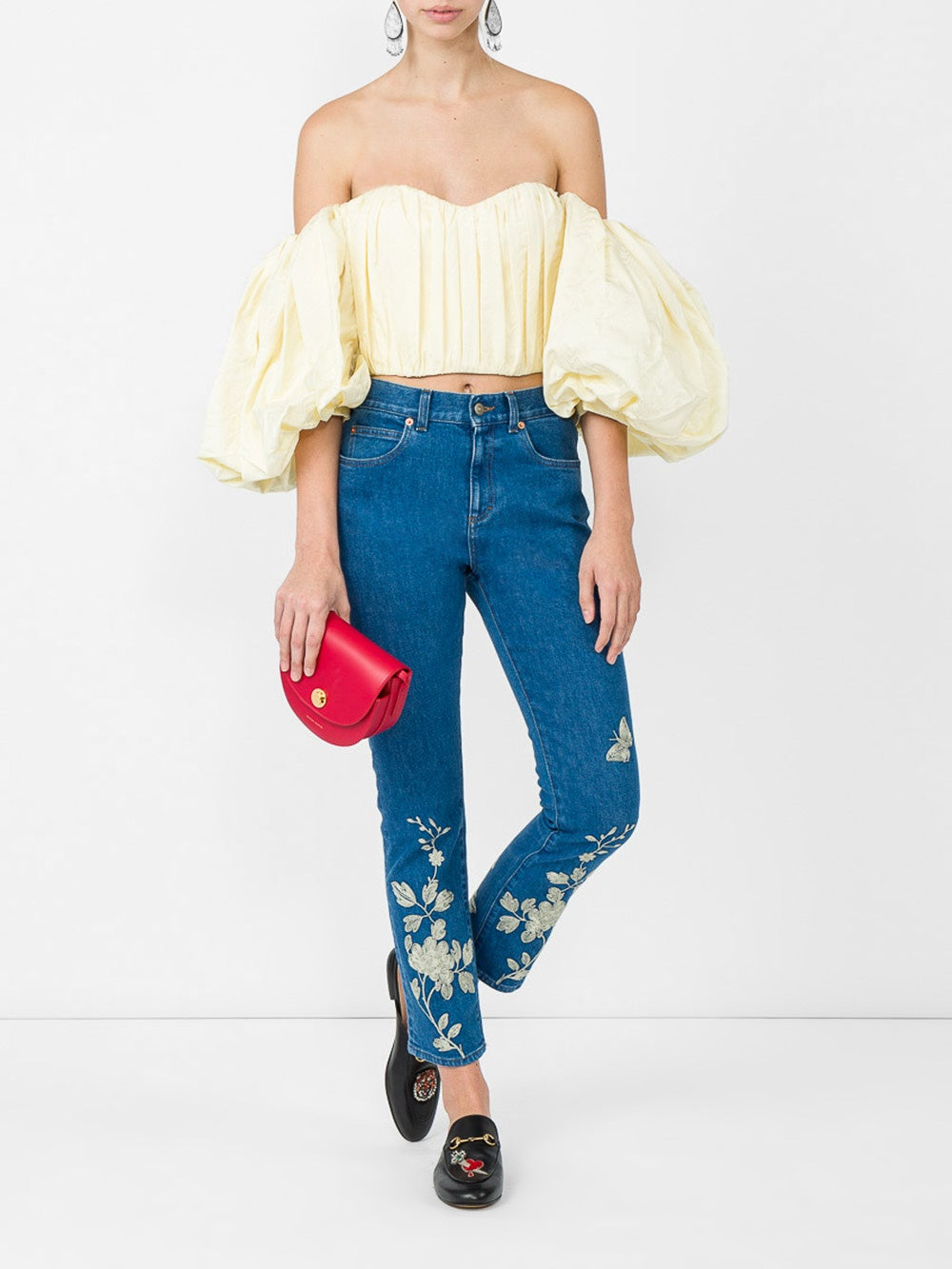 Blue Embroidered Denim Pant