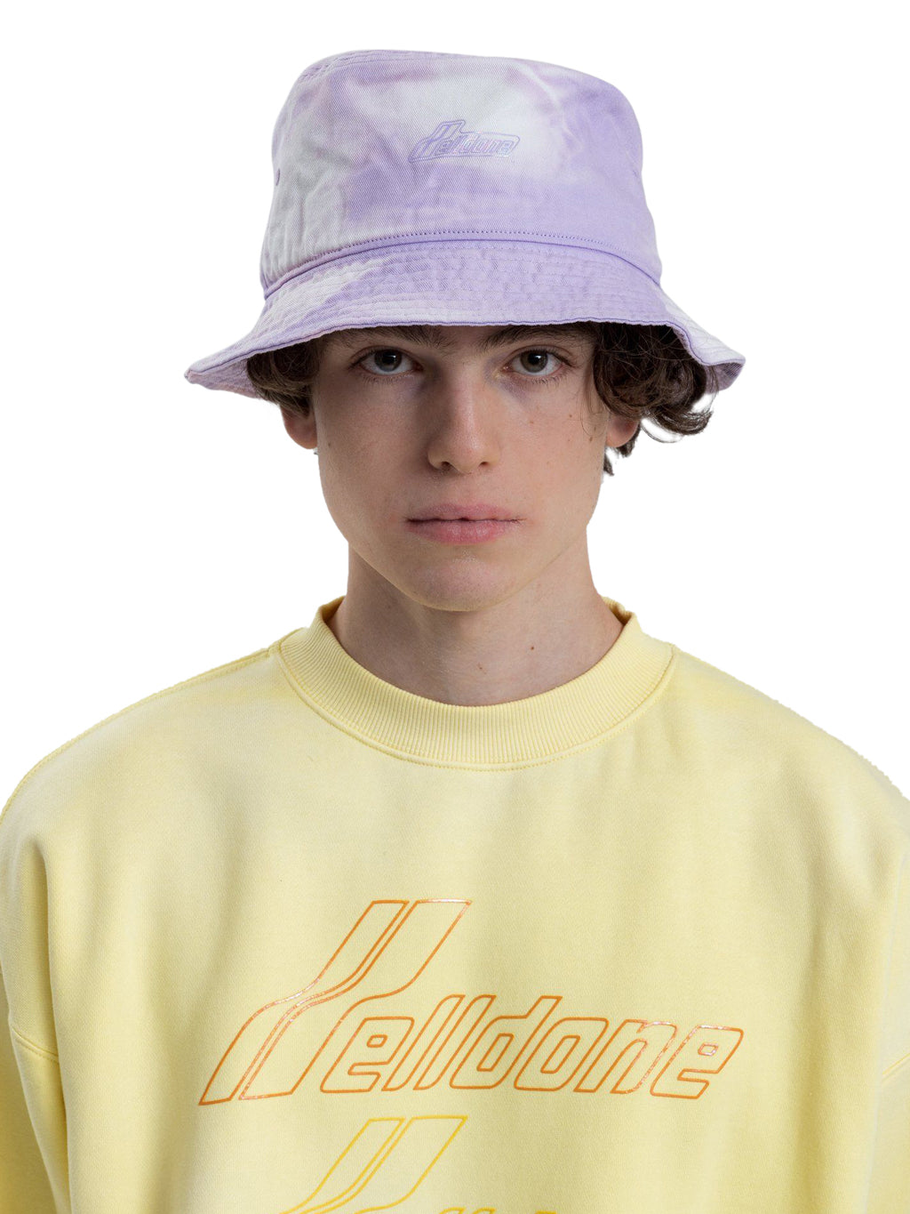 Purple Hand Bleached Iridescent Logo Embossed Bucket Hat
