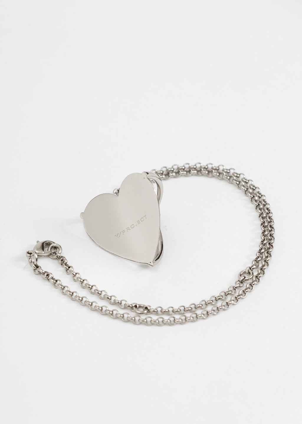 Silver Shield Y Heart Necklace