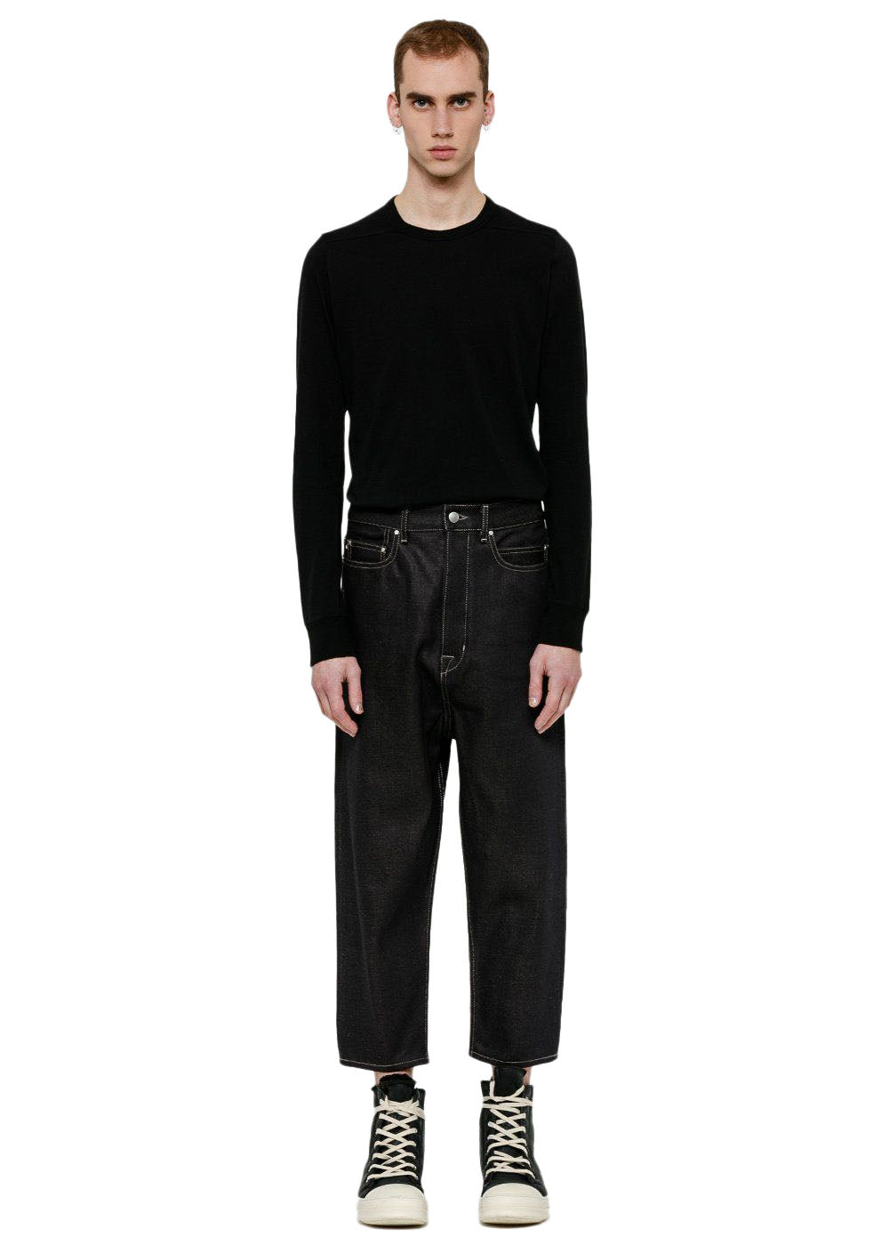 Black Collapse Cropped Jeans