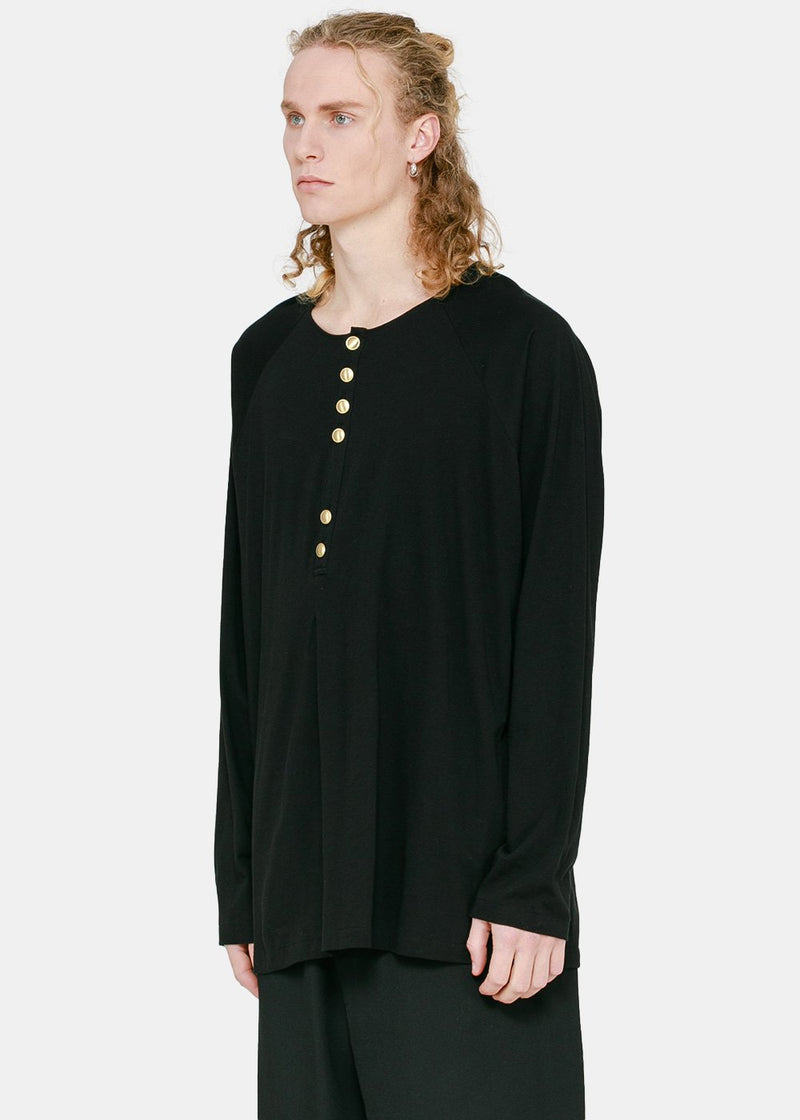 Black Gold Button Henley