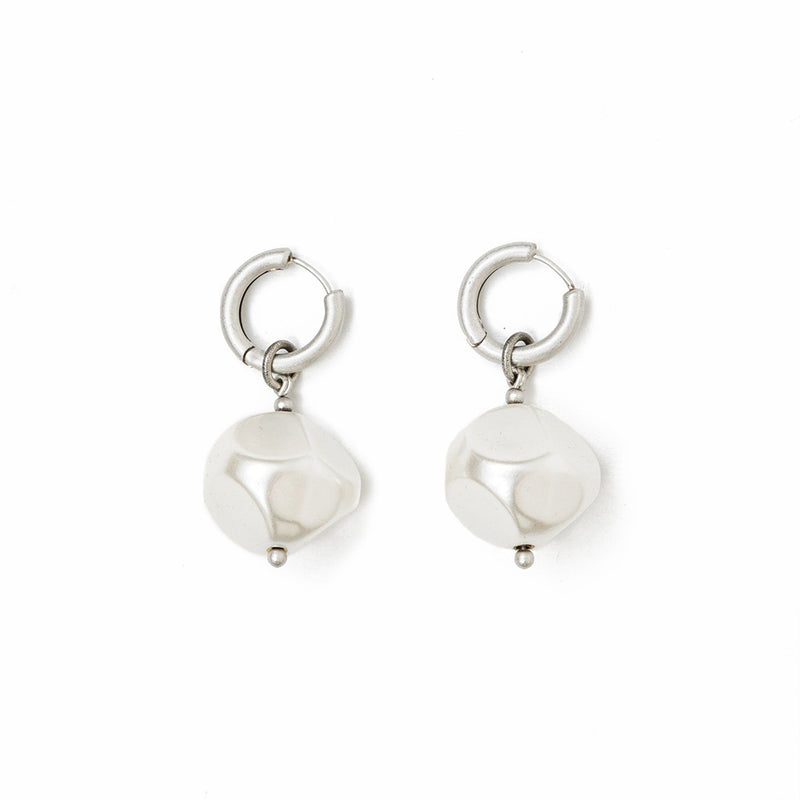 Silver Large Pearl Hoop Earrings