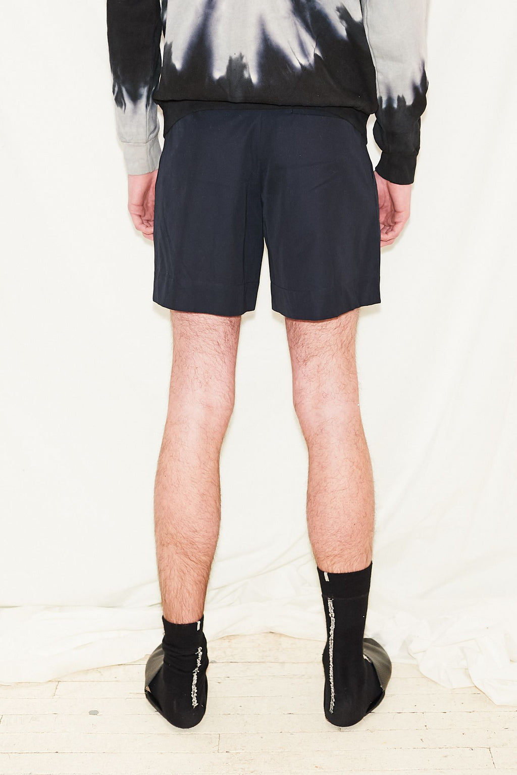 Navy Cotton Pleat Shorts