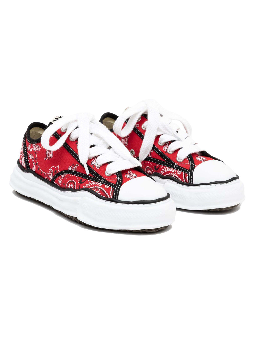 Red Bandana Printed Canvas Sneakers