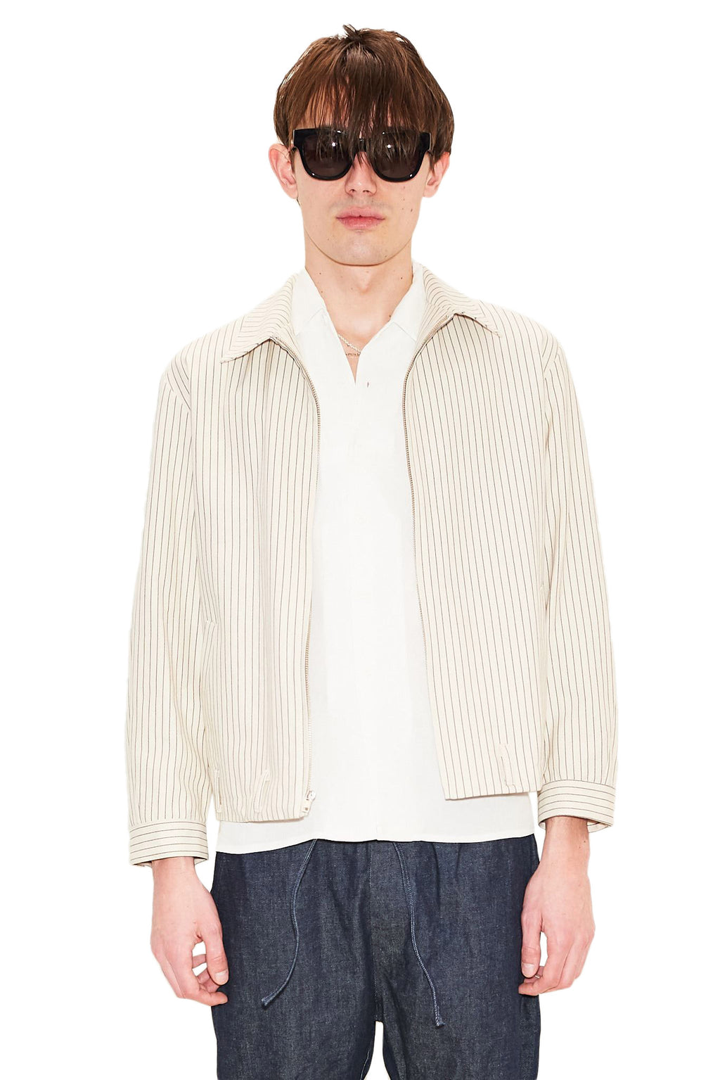 Cream Striped Denim Zip Coat