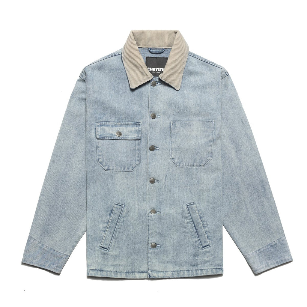 Blue Chain Stitch Embroidery Logo Denim Jacket