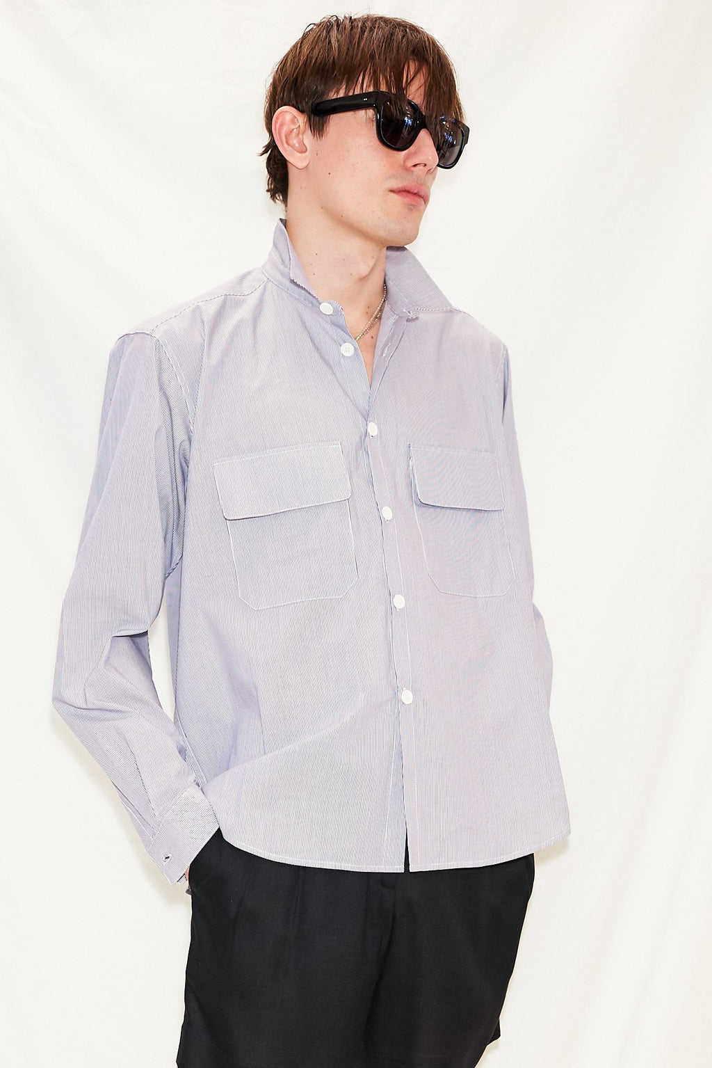 Purple Thin Stripe Poet Shirt