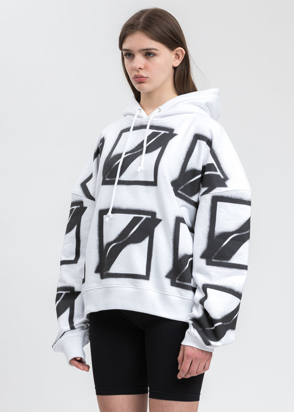 White Big Logo All Over Hoodie
