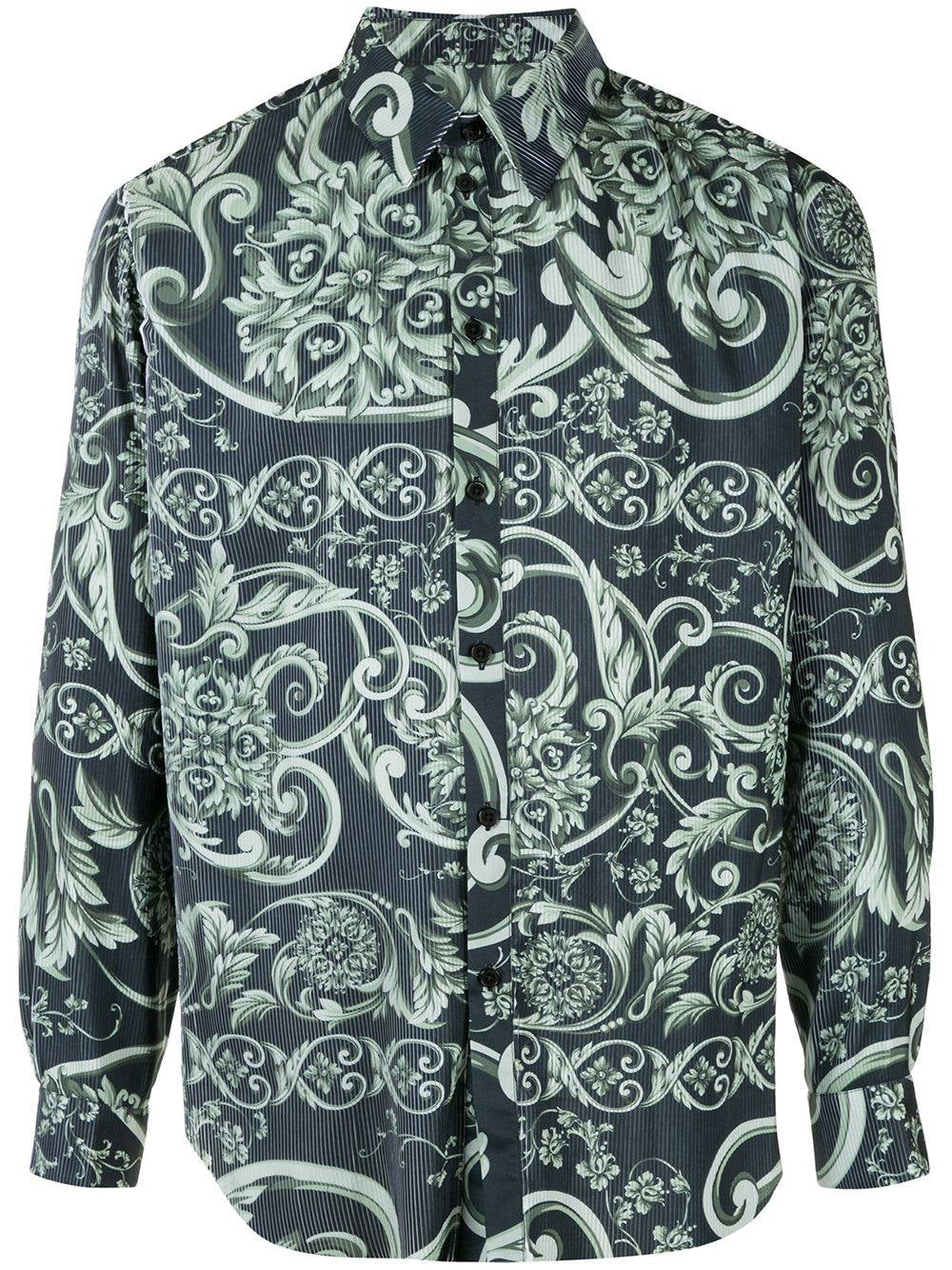Green Pleated Baroque Print Shirt