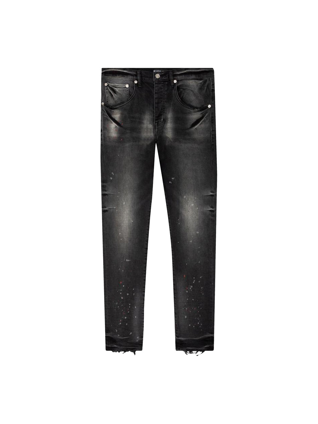 Black Wash Vintage Spotted Tapered-Leg Denim Pants