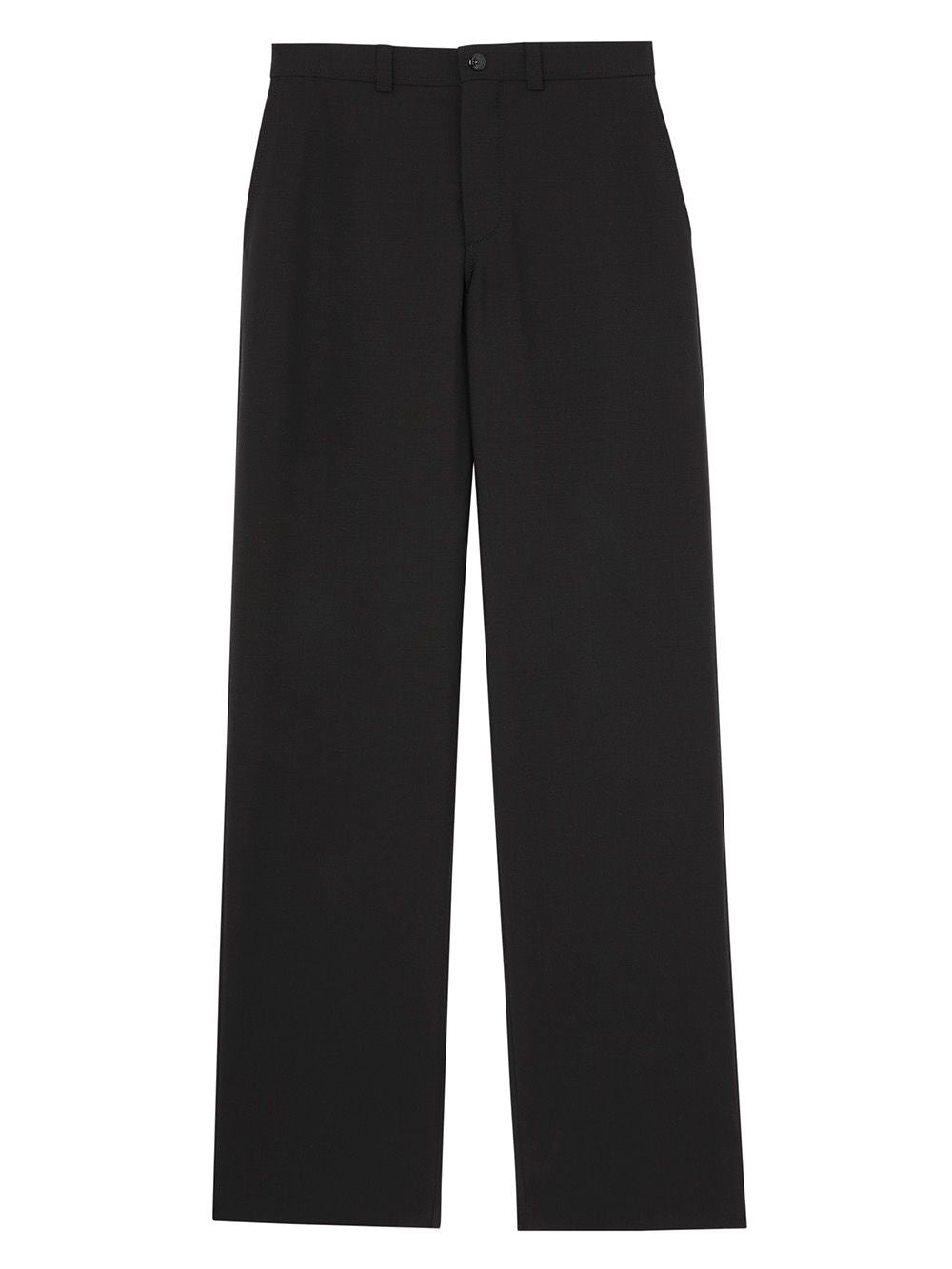 Black Cut Out Back Wool Wide Leg Trousers
