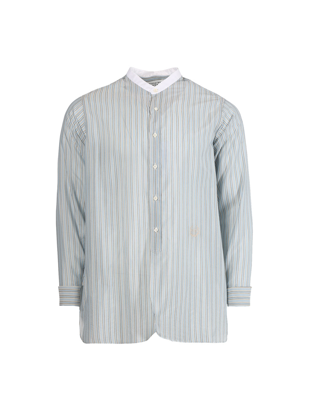 Light Grey Stripe Mandarin Collar Cotton Shirt